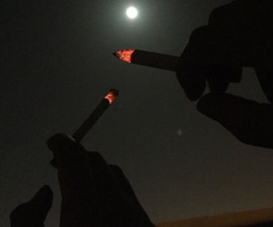 night, cigarette, and smoke image