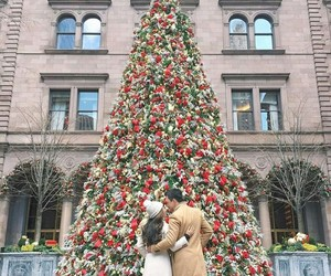 christmas, couple, and lights image