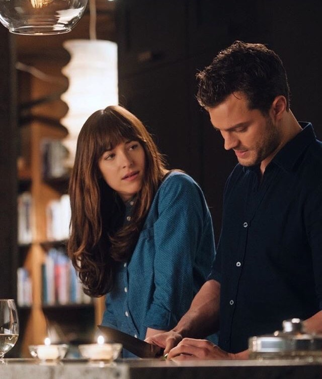 christian grey, anastasia steele, and fifty shades darker image