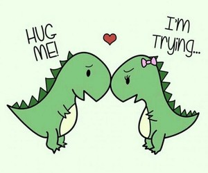 adorable, couple, and dinosaur image