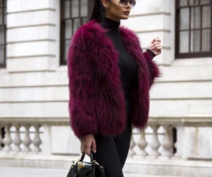 brunette, fur, and burgundy image