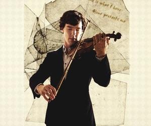 sherlock, violin, and benedict cumberbatch image