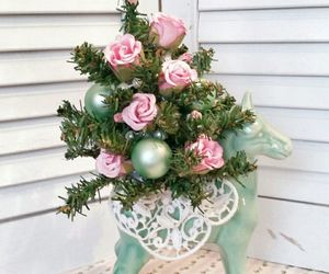 Shabby Pink And Mint Green Table Top Christmas Tree In A Vintage Pony Planter | eBay