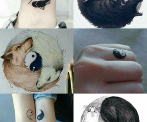 black and white, tatoo, and wolf image