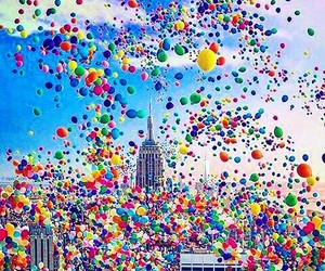 city, happiness, and globos image