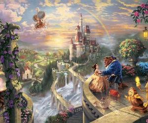 thomas kinkade, beast, and disney princesses image
