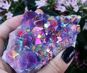 crystals, flowers, and hippie image