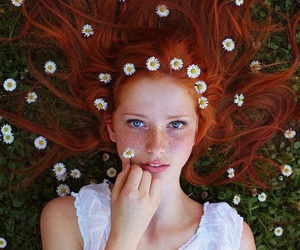 girl, flowers, and hair image