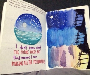 art, journal, and night image
