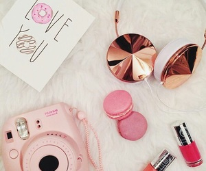 camera, macarons, and cosmetics image