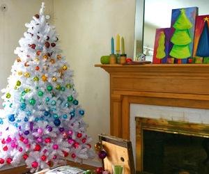 christmas, christmas tree, and rainbow image