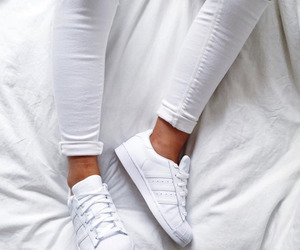 white, adidas, and shoes image