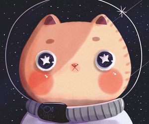 cartoon, cat, and draw image