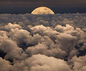beautiful, moon, and cloud image