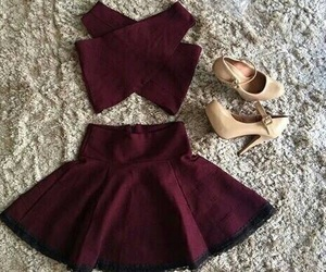 outfit, dress, and bordeaux image