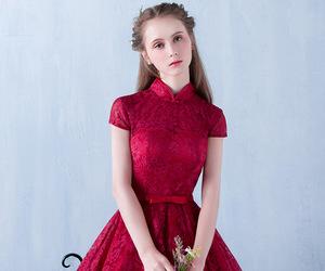 dress, Full Skirt, and lace dress image