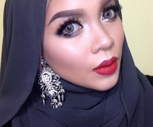 asian, makeup, and redlips image