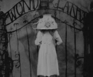 wonderland, black and white, and dark image