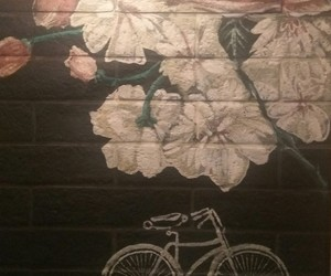 bicycle, cafe, and painting image