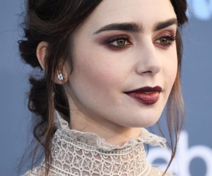 lily collins, actress, and makeup image