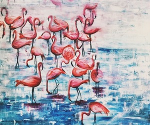 art, blue, and flamingo image