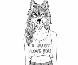 girl, wolf, and draw image