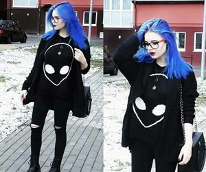 girl, black, and alien image