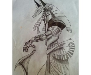 anubis, drawing, and egyptian image