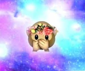 emoji, monkey, and galaxy image