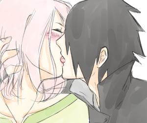 anime, kiss, and sasusaku image