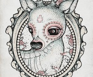 deer, tattoo, and pink image