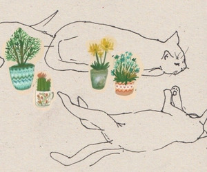 cats, art, and plants image