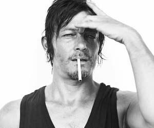 black and white, cigarette, and norman reedus image