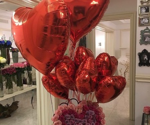 flowers, balloons, and red image
