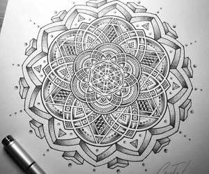 black and white, drawing, and mandala image