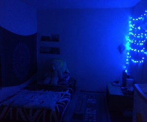 bedroom, blue, and cozy image