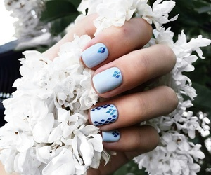 manicure, nails, and blue image