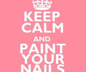 nails, keep calm, and pink image