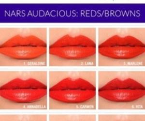 lipstick, nars, and swatches image