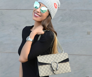 beanie, outfit, and gucci bag image
