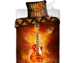 bed, rock and roll, and electric guitar image