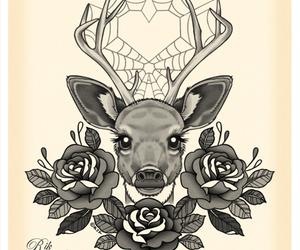 deer, tattoo, and heart image