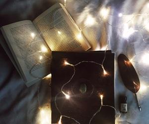 book, winter, and christmas lights image