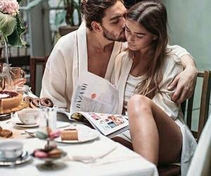 couple, eating, and girl boy image