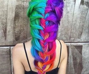 rainbow and colorfulhair image