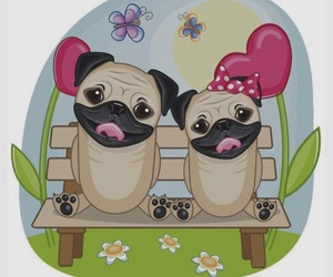 art, pugs, and friends image