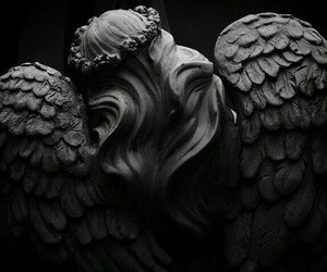 angel, black and white, and dark image