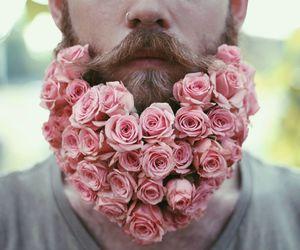flowers, rose, and beard image