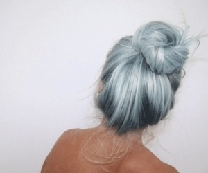 blue, hair, and messy bun image