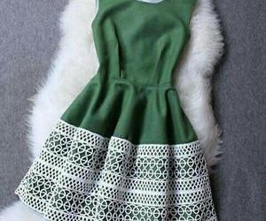 dress, green, and girly image